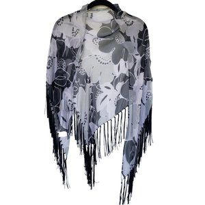 Echo Sheer Black Fringed Floral Triangle Scarf